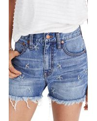 Madewell - Perfect Daisy Embroidered High Waist Denim Shorts - Lyst