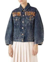 Gucci - Spiritismo Logo Denim Jacket - Lyst