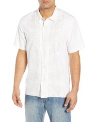 Tommy Bahama - Oceangrove Vines Classic Fit Embroidered Silk Camp Shirt - Lyst