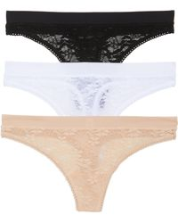 Naked - Luxury 3-pack Lace Thongs, Black - Lyst