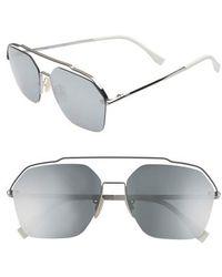 Fendi - 61mm Navigator Sunglasses - Ruthenium - Lyst