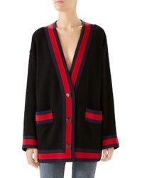 Gucci - Ribbon Trim Tweed Cardigan - Lyst