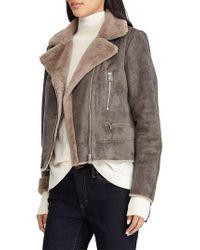 Lauren by Ralph Lauren - Faux Shearling Moto Jacket - Lyst