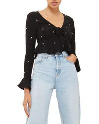 TOPSHOP - Embroidered Ditsy Floral Crop Top - Lyst