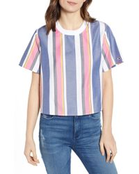 bff46840d2 Lyst - Tommy Hilfiger Ribbed Crop Top in Blue
