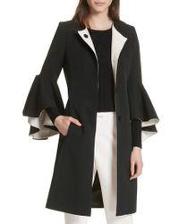 MILLY - Selena Ruffle Sleeve Coat - Lyst