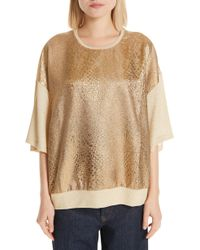 Dries Van Noten - Metallic Front Knit Tee - Lyst