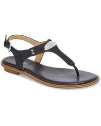 0514dc700d66 Lyst - Michael Michael Kors Mk Plate Jelly Thong Sandals in Metallic