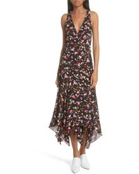A.L.C. - Roslyn Print Handkerchief Hem Silk Wrap Dress - Lyst
