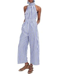 59a42f8e37c Lyst - J.Crew Linen-cotton V-neck Jumpsuit In Zigzag in Blue
