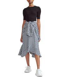 Maje - Rapri Jersey Bodice & Gingham Skirt Midi Dress - Lyst