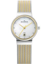 Skagen - 'ancher' Round Two-tone Mesh Watch - Lyst