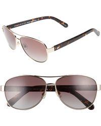 6b26bc645146 Lyst - Kate Spade 'dalia' 58mm Polarized Aviator Sunglasses in Metallic