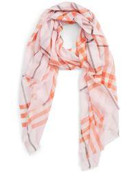 Burberry - Giant Check Wool & Silk Gauze Scarf - Lyst