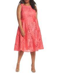 Tahari - Palm Leaf Chemical Lace A-line Dress - Lyst