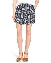 Hinge - Floral Print Twill Miniskirt - Lyst