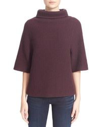 Ayr - 'rue Abel' Ribbed Funnel Neck Wool & Cashmere Sweater - Lyst