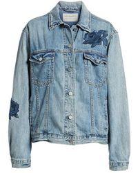 AllSaints - Rose Embroidered Oversize Denim Jacket - Lyst