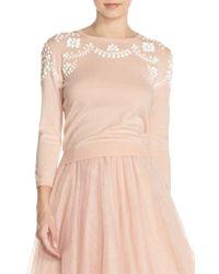 Jenny Yoo - 'millie' Beaded Cotton Blend Sweater - Lyst