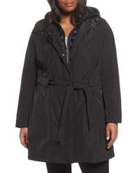 Laundry by Shelli Segal | Water Resistant Hooded Coat With Puffer Bib Inset | Lyst