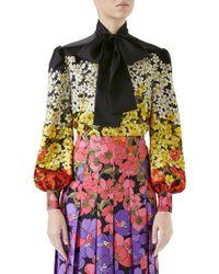 Gucci - Degrade Floral Print Silk Tie Neck Blouse - Lyst