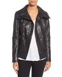 Rudsak - 'Presley' Asymmetrical Zip Neoprene & Leather Moto Jacket - Lyst