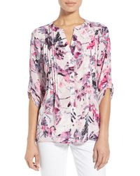 Chaus | 'floral Breeze' Roll Sleeve Pintuck Blouse | Lyst