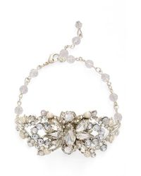 Halo - Floral Crystal & Faux Pearl Bracelet - Lyst