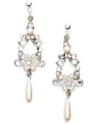 Halo - Crystal & Faux Pearl Chandelier Earrings - Lyst