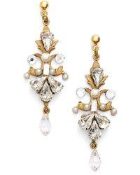 Halo - Crystal & Faux Pearl Scroll Chandelier Earrings - Lyst