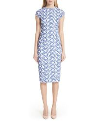 Lela Rose - Cap Sleeve Lace Sheath Dress - Lyst