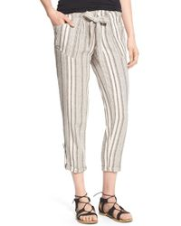 Jolt - My Michelle Stripe Crop Linen Blend Pants - Lyst