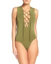 Olympia Theodora | Stretch Modal Lace-up Thong Bodysuit | Lyst
