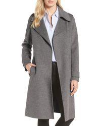 Badgley Mischka - Double Face Wool Blend Wrap Front Coat - Lyst