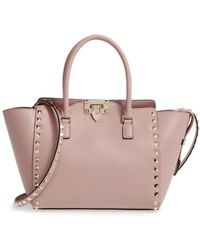 Valentino - Rockstud Small Double Handle Leather Tote - - Lyst