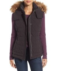 Marc New York - By Andrew Marc 'thea' Removable Faux Fur Collar Quilted Down Vest - Lyst