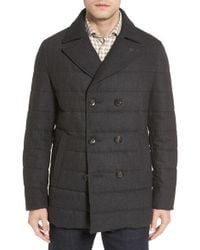 Luciano Barbera - Quilted Down Wool Blend Peacoat - Lyst