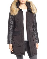 7 For All Mankind - 7 For All Mankind Mixed Media Coat With Removable Faux Fur Trim - Lyst