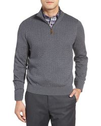 David Donahue - Cable Knit Silk Blend Quarter Zip Sweater - Lyst