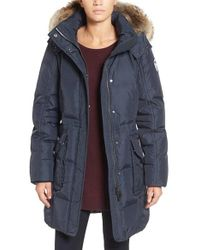 Pajar - Bryce Three Quarter Quilted Down Coat With Detachable Genuine Fur Hood - Lyst