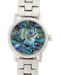 TOPSHOP - Abalone Pave Bracelet Watch - Lyst