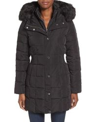 CALVIN KLEIN 205W39NYC - Hooded Water Resistant Puffer Coat With Faux Fur Trim - Lyst