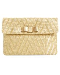 Ferragamo | Vara Bow Metallic Clutch - Metallic | Lyst