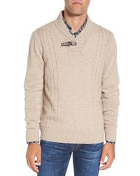 Singer + Sargent   Shawl Collar Cable Knit Wool Jumper   Lyst