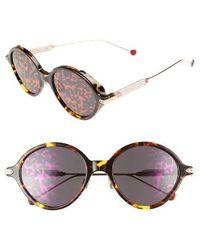 Dior - Umbrage 52mm Round Sunglasses - Havana/ Red/ Gold - Lyst