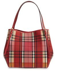 Burberry - 'small Canter' Horseferry Check & Leather Tote - Lyst