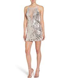 Dear Moon - Illusion Neck Sequin Body-con Dress - Lyst