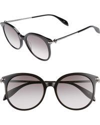 Alexander McQueen - 54mm Gradient Lens Round Sunglasses - Dark Ruthenium/ Black - Lyst