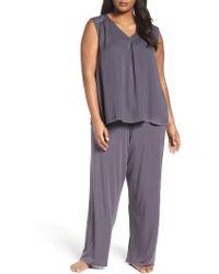 Midnight By Carole Hochman - Satin & Jersey Pajamas - Lyst