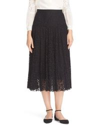 Carmen marc valvo Chiffon Pleated Midi Skirt in Black | Lyst